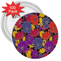 Colorful Floral Pattern Background 3  Buttons (100 Pack)  by Nexatart