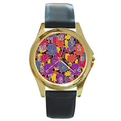Colorful Floral Pattern Background Round Gold Metal Watch by Nexatart