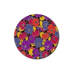 Colorful Floral Pattern Background Rubber Round Coaster (4 Pack)  by Nexatart