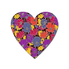 Colorful Floral Pattern Background Heart Magnet by Nexatart