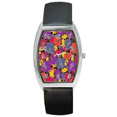 Colorful Floral Pattern Background Barrel Style Metal Watch by Nexatart