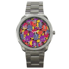 Colorful Floral Pattern Background Sport Metal Watch by Nexatart
