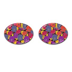 Colorful Floral Pattern Background Cufflinks (oval) by Nexatart