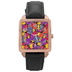 Colorful Floral Pattern Background Rose Gold Leather Watch  by Nexatart