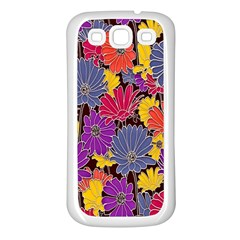 Colorful Floral Pattern Background Samsung Galaxy S3 Back Case (white) by Nexatart