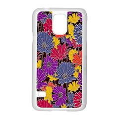 Colorful Floral Pattern Background Samsung Galaxy S5 Case (white) by Nexatart