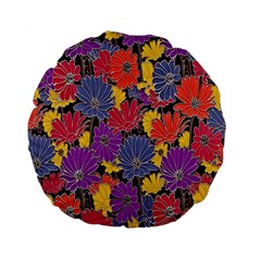 Colorful Floral Pattern Background Standard 15  Premium Flano Round Cushions by Nexatart