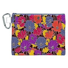 Colorful Floral Pattern Background Canvas Cosmetic Bag (xxl) by Nexatart