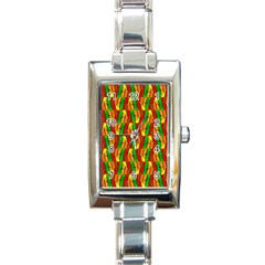 Colorful Wooden Background Pattern Rectangle Italian Charm Watch by Nexatart