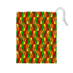 Colorful Wooden Background Pattern Drawstring Pouches (large)  by Nexatart