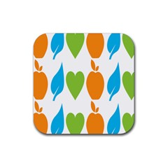 Fruit Apple Orange Green Blue Rubber Square Coaster (4 Pack)  by Mariart