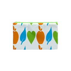 Fruit Apple Orange Green Blue Cosmetic Bag (xs) by Mariart