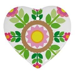 Flower Floral Sunflower Sakura Star Leaf Heart Ornament (two Sides) by Mariart