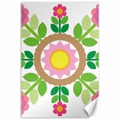 Flower Floral Sunflower Sakura Star Leaf Canvas 24  X 36  by Mariart