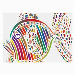 Colorful Fish Animals Rainbow Large Glasses Cloth by Mariart
