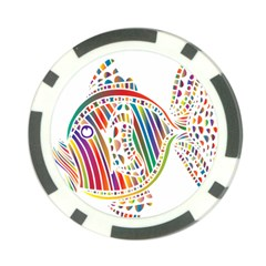 Colorful Fish Animals Rainbow Poker Chip Card Guard by Mariart