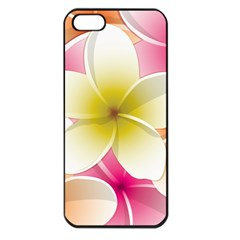 Frangipani Flower Floral White Pink Yellow Apple Iphone 5 Seamless Case (black) by Mariart