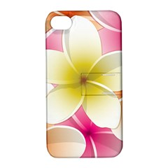 Frangipani Flower Floral White Pink Yellow Apple Iphone 4/4s Hardshell Case With Stand by Mariart