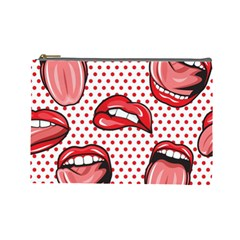 Lipstick Lip Red Polka Dot Circle Cosmetic Bag (large)  by Mariart