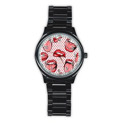 Lipstick Lip Red Polka Dot Circle Stainless Steel Round Watch by Mariart