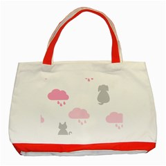 Raining Cats Dogs White Pink Cloud Rain Classic Tote Bag (red) by Mariart