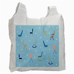 Seat Blue Polka Dot Recycle Bag (One Side) by Mariart