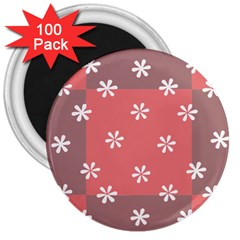 Seed Life Seamless Remix Flower Floral Red White 3  Magnets (100 Pack) by Mariart