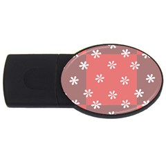 Seed Life Seamless Remix Flower Floral Red White Usb Flash Drive Oval (4 Gb) by Mariart