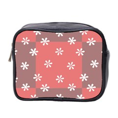 Seed Life Seamless Remix Flower Floral Red White Mini Toiletries Bag 2 Side by Mariart