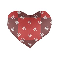 Seed Life Seamless Remix Flower Floral Red White Standard 16  Premium Flano Heart Shape Cushions by Mariart