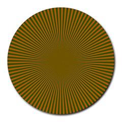 Stripy Starburst Effect Light Orange Green Line Round Mousepads by Mariart