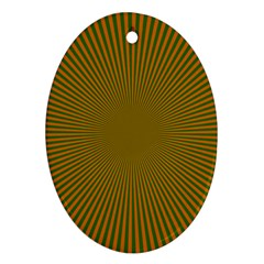 Stripy Starburst Effect Light Orange Green Line Oval Ornament (two Sides) by Mariart