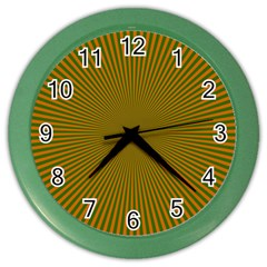 Stripy Starburst Effect Light Orange Green Line Color Wall Clocks by Mariart
