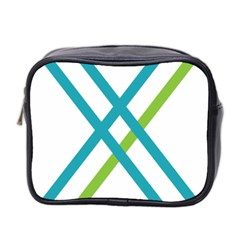 Symbol X Blue Green Sign Mini Toiletries Bag 2 Side by Mariart