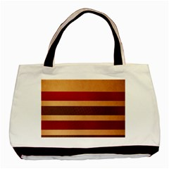 Vintage Striped Polka Dot Red Brown Basic Tote Bag (two Sides) by Mariart