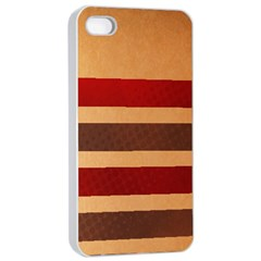 Vintage Striped Polka Dot Red Brown Apple Iphone 4/4s Seamless Case (white) by Mariart