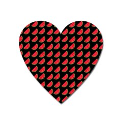 Watermelon Slice Red Black Fruite Heart Magnet by Mariart