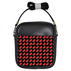Watermelon Slice Red Black Fruite Girls Sling Bags by Mariart