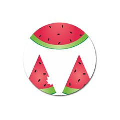 Watermelon Slice Red Green Fruite Magnet 3  (round) by Mariart