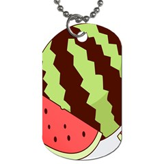 Watermelon Slice Red Green Fruite Circle Dog Tag (two Sides) by Mariart