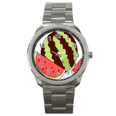 Watermelon Slice Red Green Fruite Circle Sport Metal Watch by Mariart