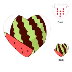 Watermelon Slice Red Green Fruite Circle Playing Cards (Heart)