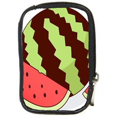 Watermelon Slice Red Green Fruite Circle Compact Camera Cases by Mariart