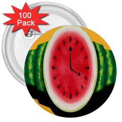 Watermelon Slice Red Orange Green Black Fruite Time 3  Buttons (100 Pack)  by Mariart