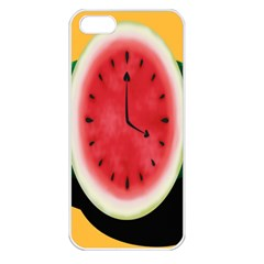 Watermelon Slice Red Orange Green Black Fruite Time Apple Iphone 5 Seamless Case (white) by Mariart