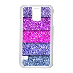 Violet Girly Glitter Pink Blue Samsung Galaxy S5 Case (white) by Mariart