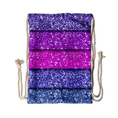 Violet Girly Glitter Pink Blue Drawstring Bag (small) by Mariart