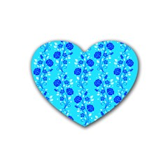Vertical Floral Rose Flower Blue Heart Coaster (4 Pack)  by Mariart