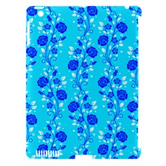 Vertical Floral Rose Flower Blue Apple Ipad 3/4 Hardshell Case (compatible With Smart Cover) by Mariart