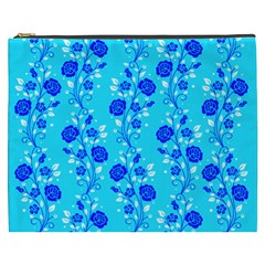 Vertical Floral Rose Flower Blue Cosmetic Bag (xxxl)  by Mariart